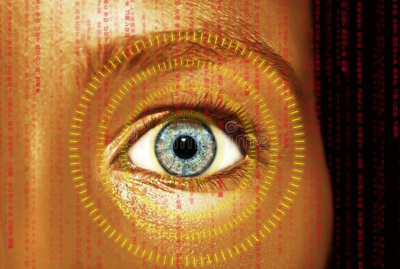 Olho abstrato com c?rculo digital Ci?ncia futurista da vis?o e conceito da identifica??o fotografia de stock royalty free
