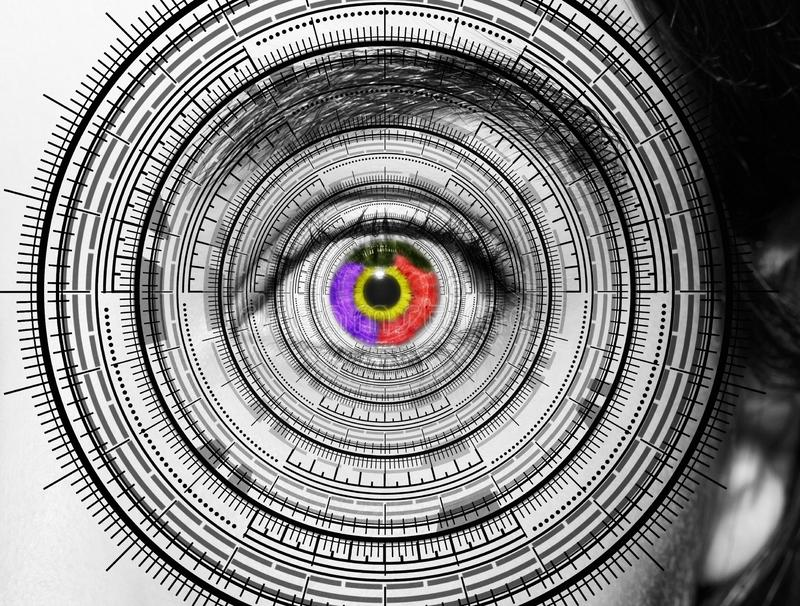 Olho abstrato com c?rculo digital Ci?ncia futurista da vis?o e conceito da identifica??o imagem de stock