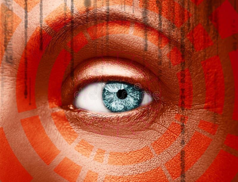 Olho abstrato com c?rculo digital Ci?ncia futurista da vis?o e conceito da identifica??o foto de stock