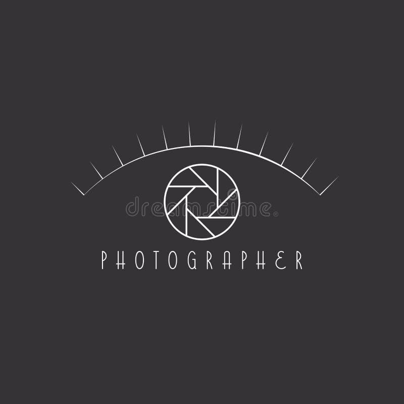 Olho abstrato do fotógrafo, abertura colorida a câmera, logotipo do local ilustração stock