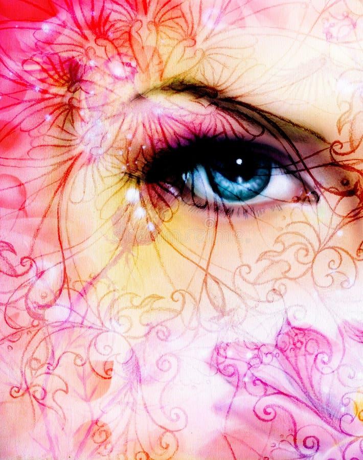Olho azul das mulheres que irradia-se acima de encantar atrás de uma flor de lótus cor-de-rosa de florescência, e do teste padrão foto de stock royalty free