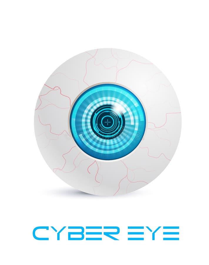 Olho azul do cyber ilustração royalty free