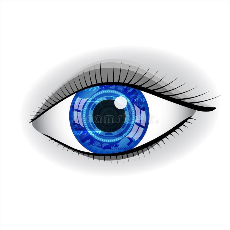 Olho azul humano da tecnologia ilustração royalty free