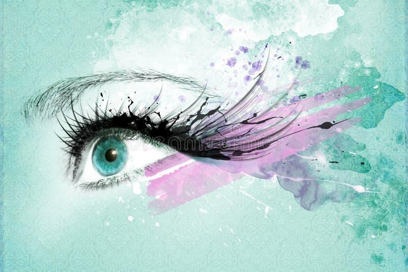 Olho bonito da mulher, arte finala com tinta no estilo do grunge ilustração stock