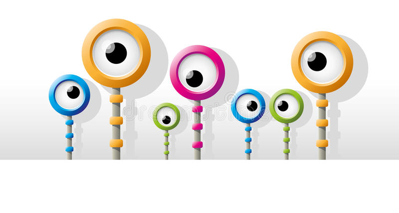 Olho colorido engraçado do robô ilustração royalty free