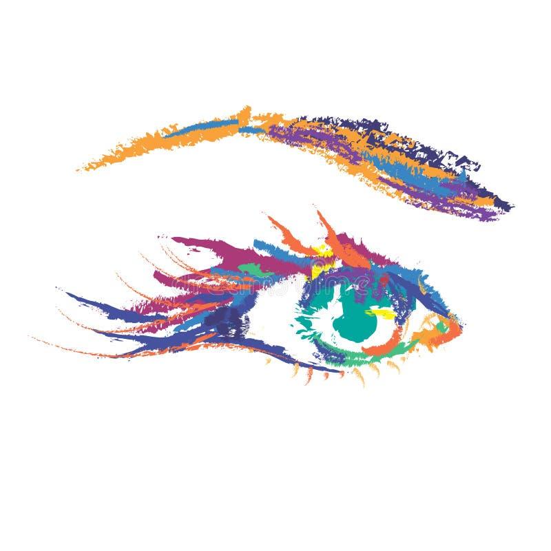 Olho colorido pintado ilustração do vetor
