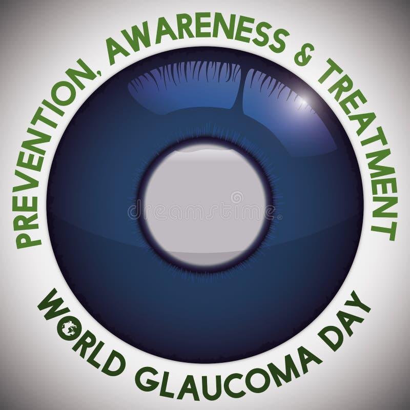 Olho com a córnea hidrópico e mensagem da conscientização para o dia da glaucoma, ilustração do vetor ilustração royalty free