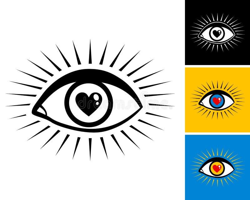 Olho com coração ilustração do vetor