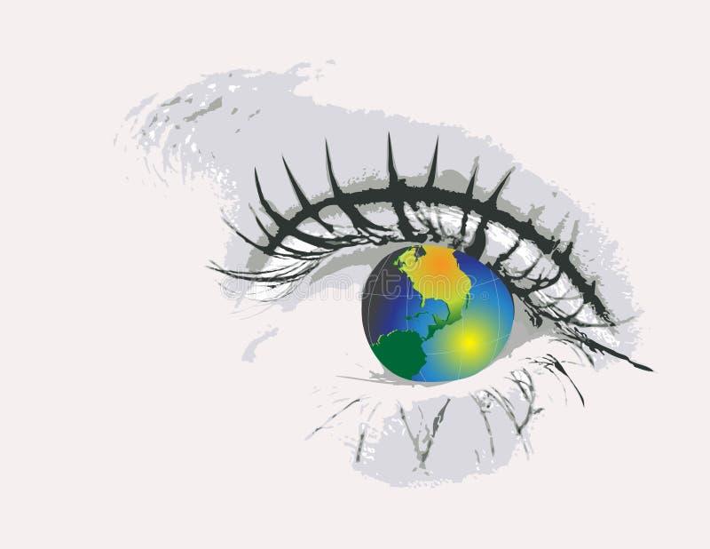 Olho com globo ilustração do vetor