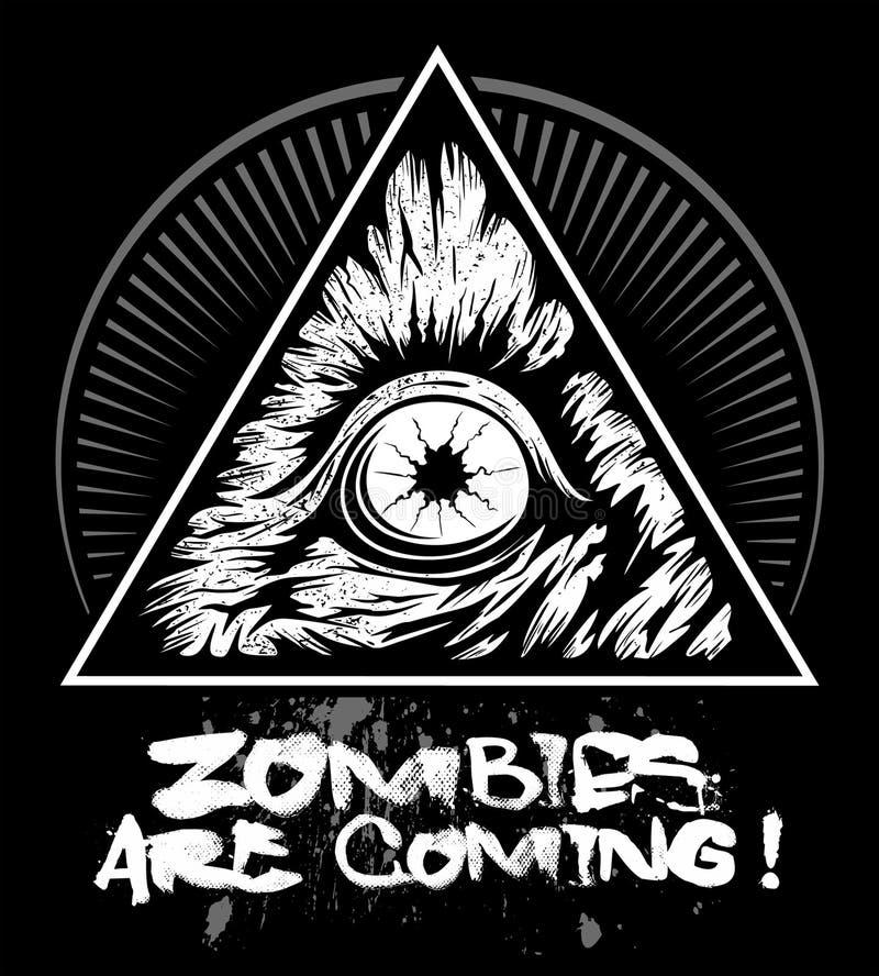 Olho com o triângulo, logotipo do zombi do vetor ilustração royalty free