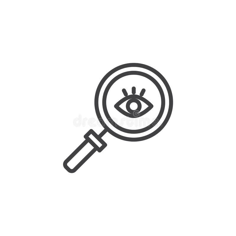 Olho com um ícone do esboço da lupa ilustração stock