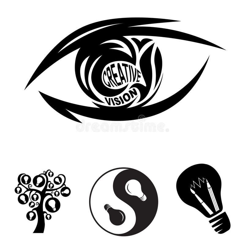 Olho creativo da visão e símbolos das idéias ilustração stock