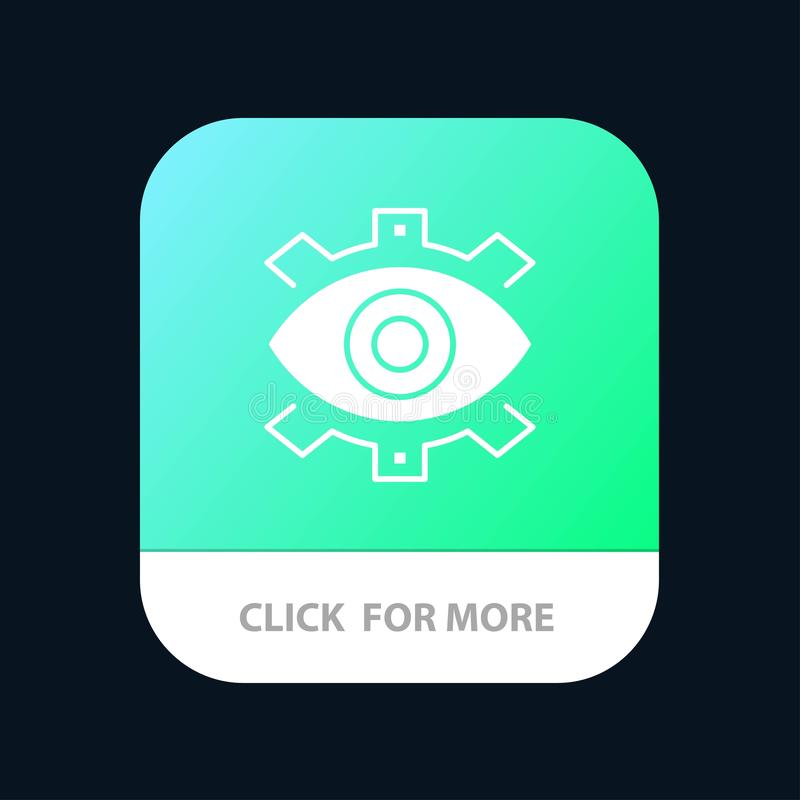 Olho, criativo, produção, negócio, criativo, moderno, botão móvel do App da produção Android e do Glyph do IOS versão ilustração do vetor