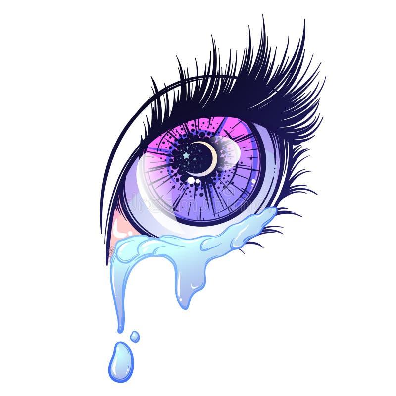 Olho de grito no estilo do anime ou do manga com lágrimas e reflexões Ilustração altamente detalhada do vetor ilustração royalty free