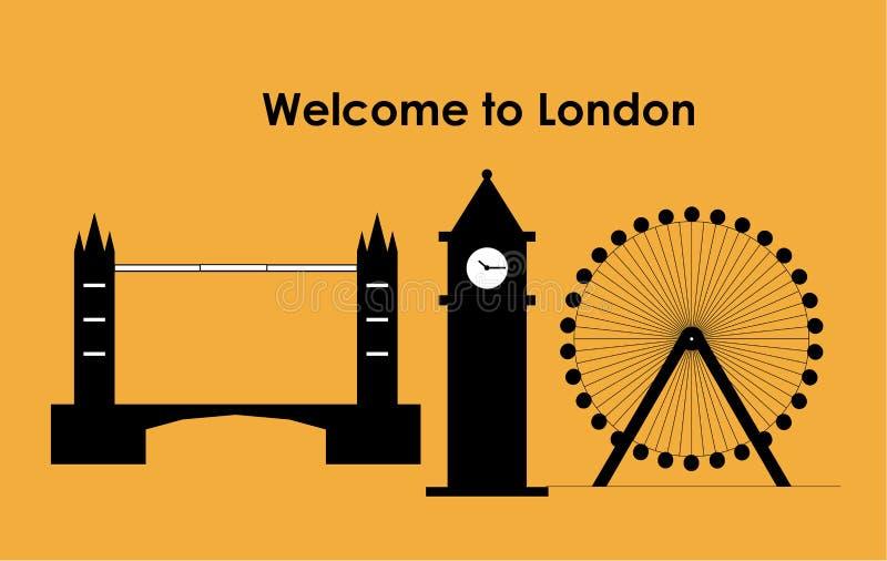 Olho de Londres, Londres Big Ben, ponte de Londres ilustração stock