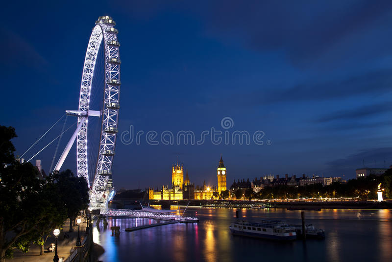 Olho de Londres e ben grande imagens de stock