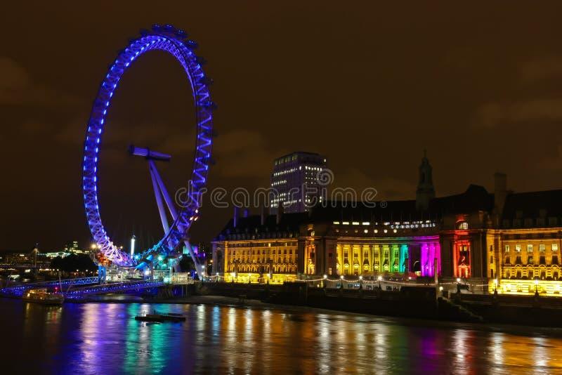 Olho de Londres na noite fotos de stock royalty free