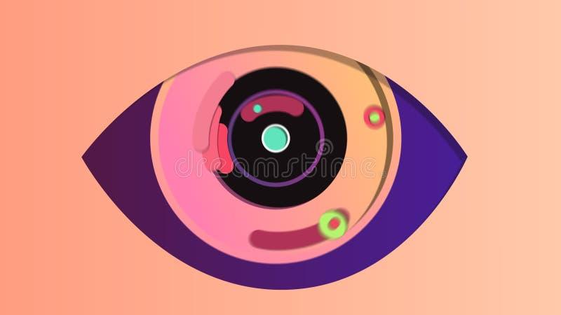 Olho digital abstrato no contexto rosado ilustração stock