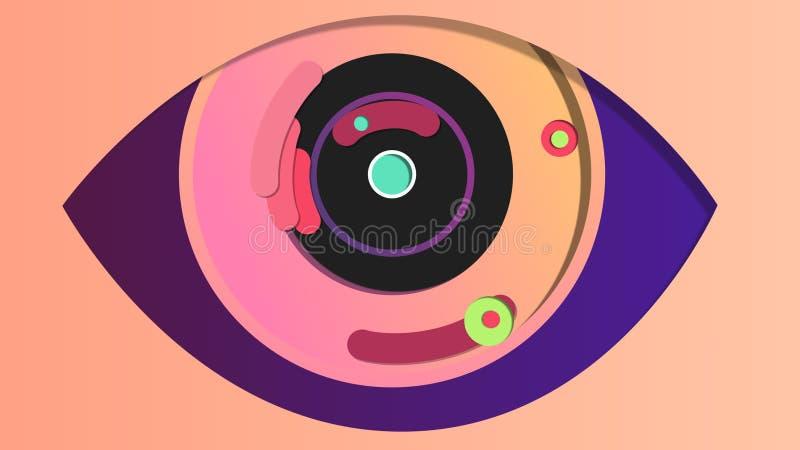 Olho digital macro no contexto cor-de-rosa ilustração stock