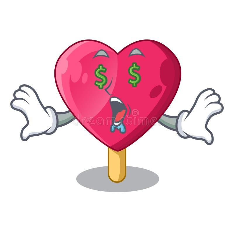 Olho do dinheiro a mascote dada forma do gelado do coração ilustração stock