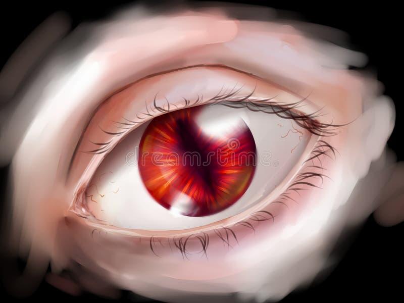 Olho do monstro com íris vermelha ilustração stock