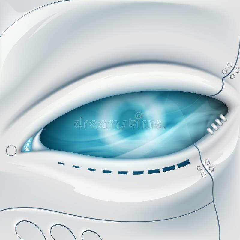 Olho do robô Cara mecânica ilustração royalty free