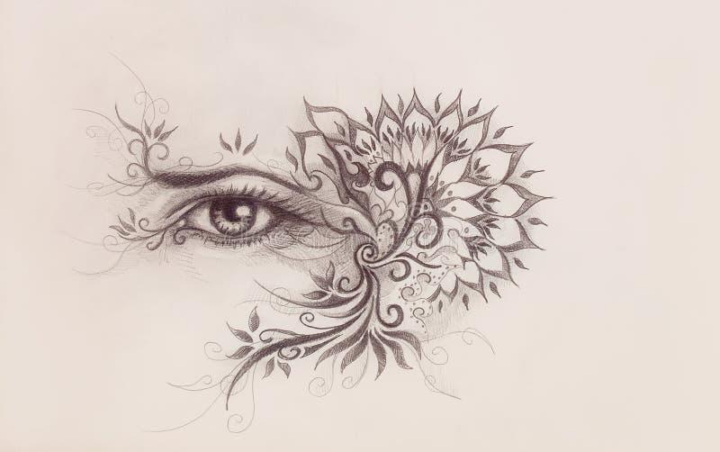 Olho e desenho decorativo Tra??o original da m?o no papel ilustração royalty free