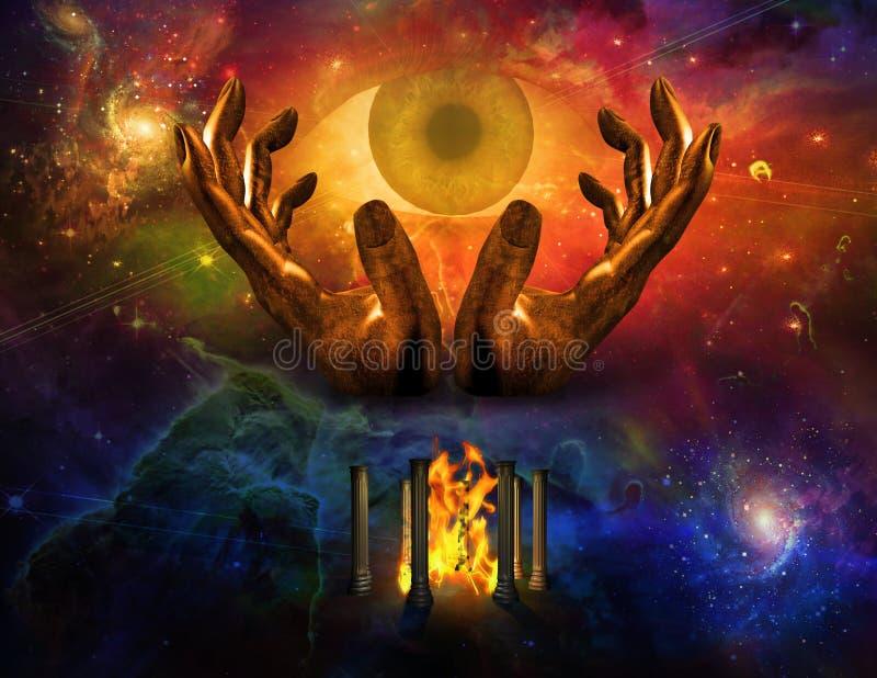 Olho e mãos da fantasia ilustração royalty free