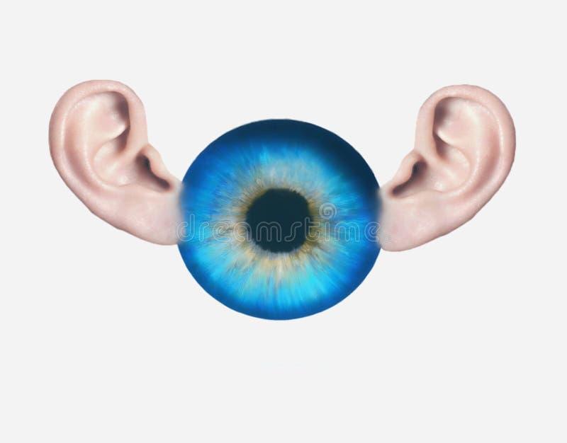 Olho e orelhas Toda a vista e toda a audição fotos de stock