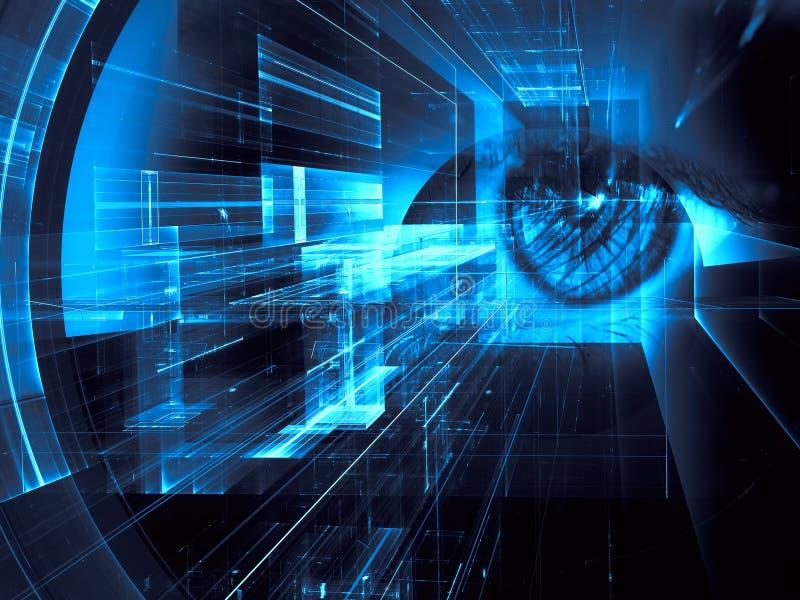 Olho e túnel futurista ou portal humano - ilustração abstrata ilustração royalty free
