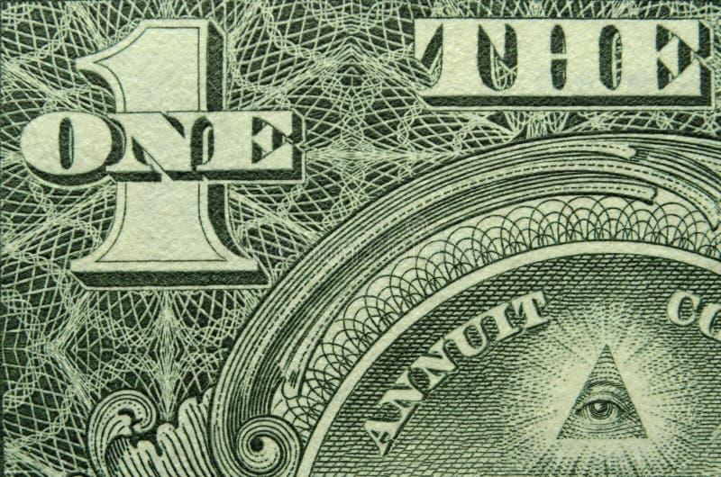 Olho e UM e de uma nota de dólar dos E.U. um fotografia de stock royalty free