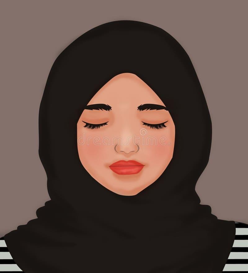 Olho fechado da menina ilustração stock