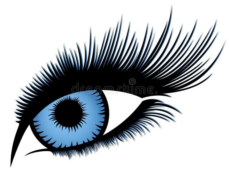Olho humano abstrato com pestanas longas ilustração do vetor