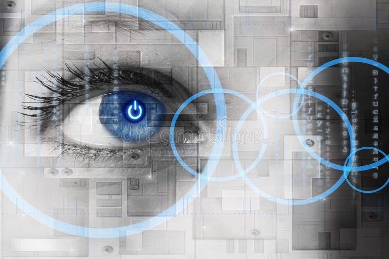 Olho humano com interior da reflexão do botão da potência - conce da tecnologia ilustração stock