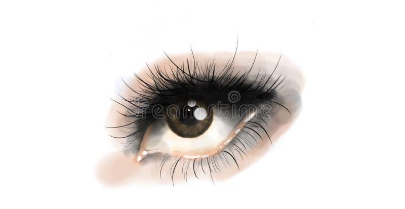 Olho marrom bonito com composição roxa ilustração stock