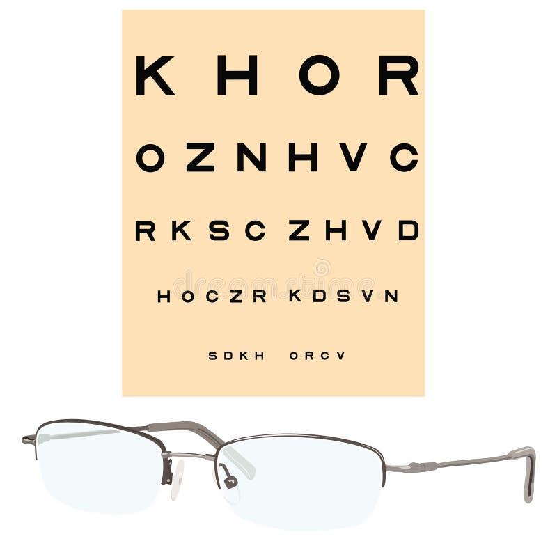 Olho que verific a carta e os eyeglasses ilustração stock