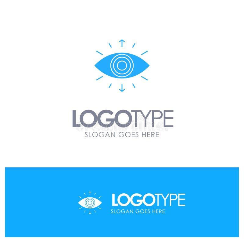 Olho, símbolo, sociedade secreta, membro, logotipo contínuo azul com lugar para o tagline ilustração do vetor