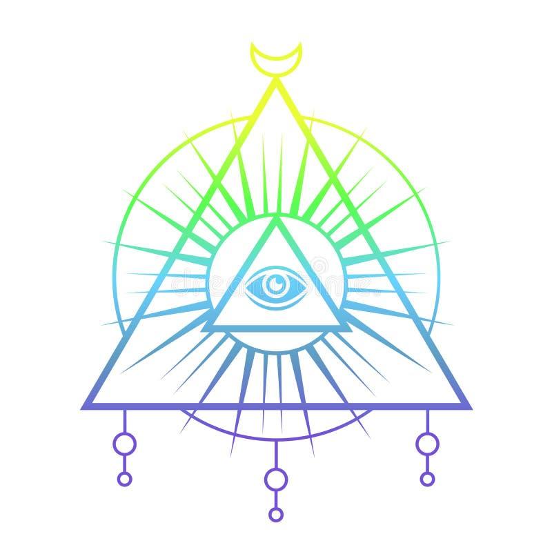 Olho sagrado Projeto místico da tatuagem ilustração royalty free
