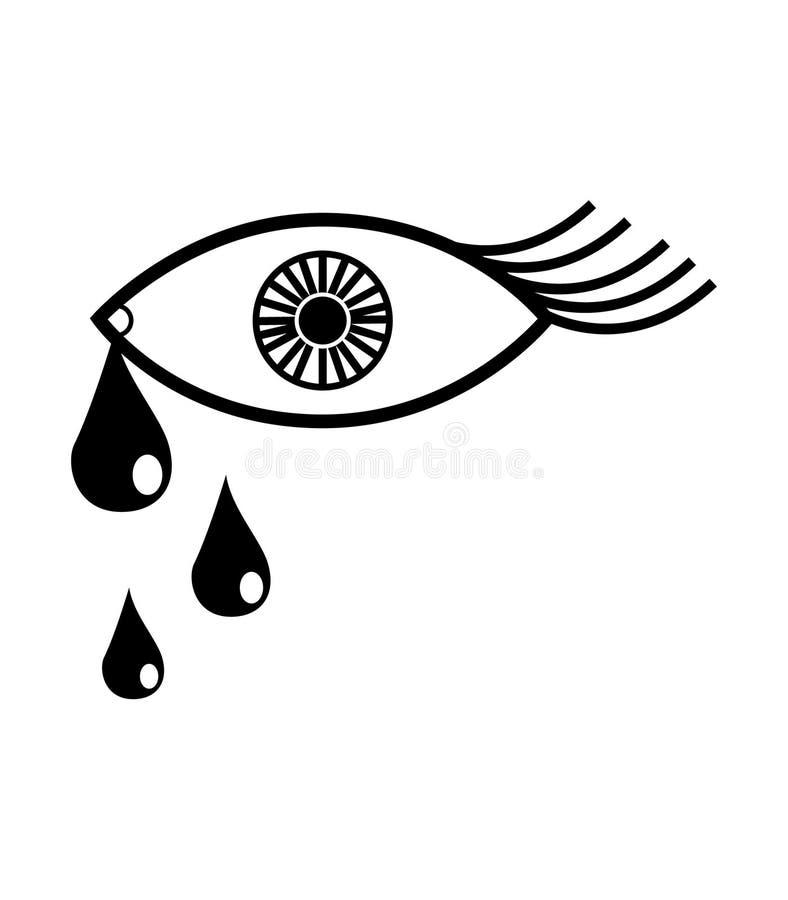 Olho simples, preto e branco com ícone dos rasgos ilustração royalty free