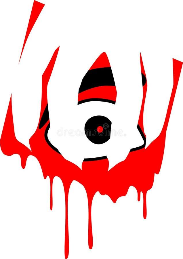 Olho temível com mão e sangue da drenagem ilustração stock