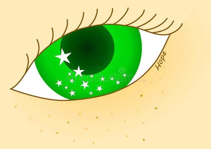 Olho verde da esperança que olha as estrelas ilustração stock