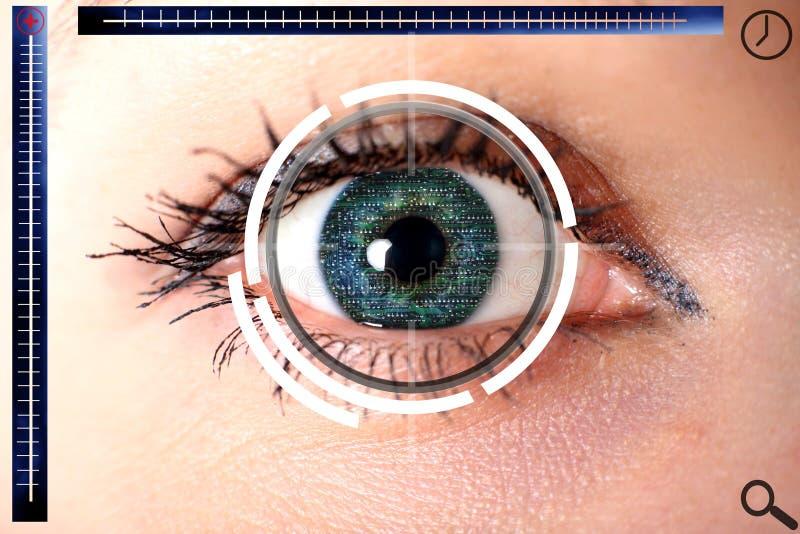 Olho verde do cyber da varredura para a segurança fotografia de stock