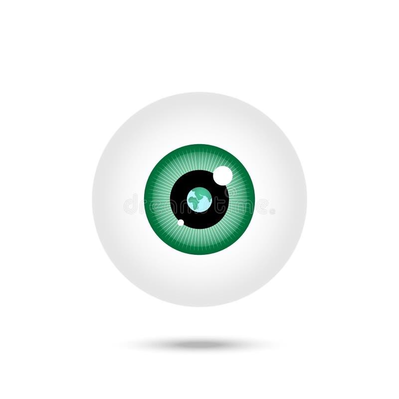 Olho verde Reflexão da terra no olho Engrena o ?cone ilustração stock