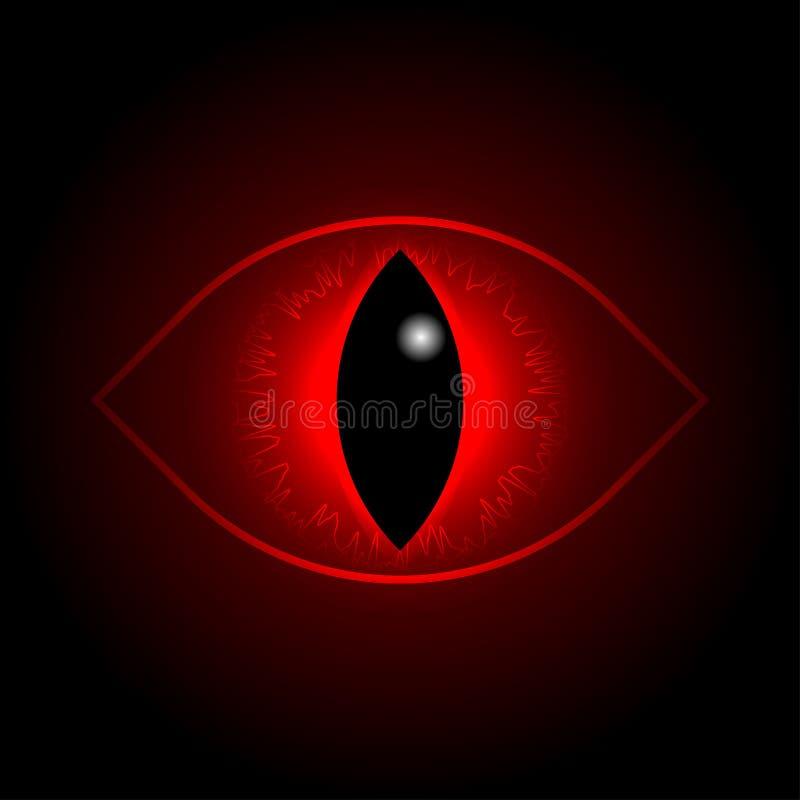 Olho vermelho do dragão do vetor ilustração royalty free