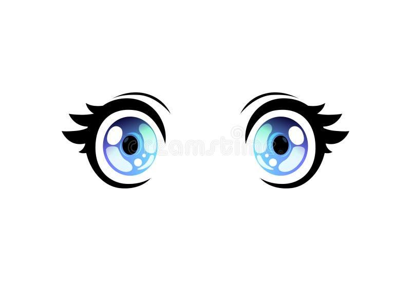 Olhos abertos largos dos olhos brilhantes, olhos bonitos com reflexões claras Manga Japanese Style Vetora Illustration ilustração do vetor