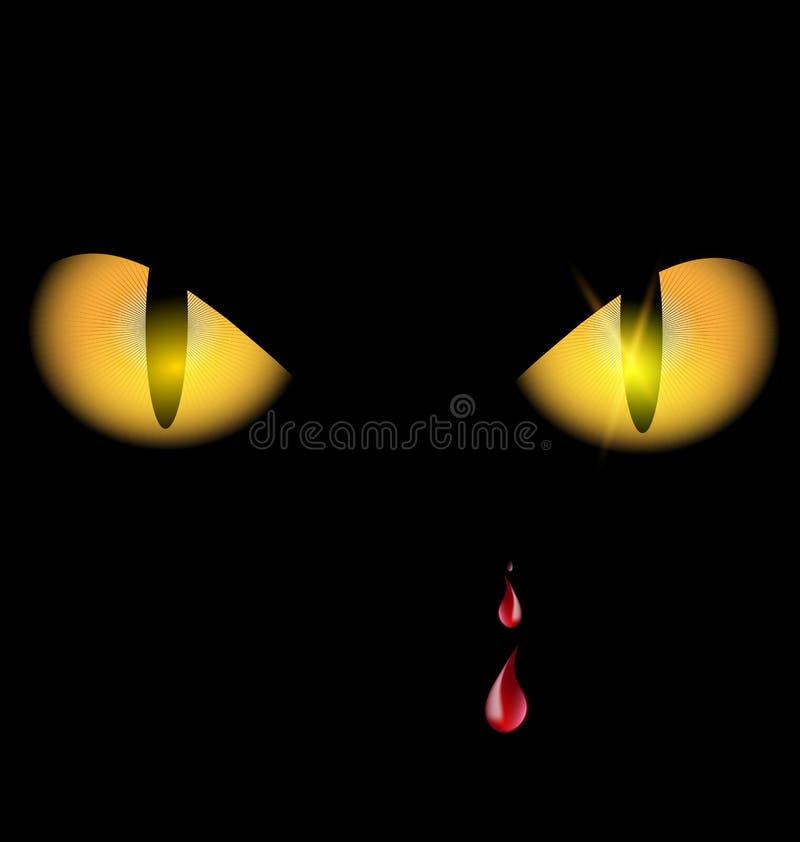 Olhos amarelos e gotas ilustração stock