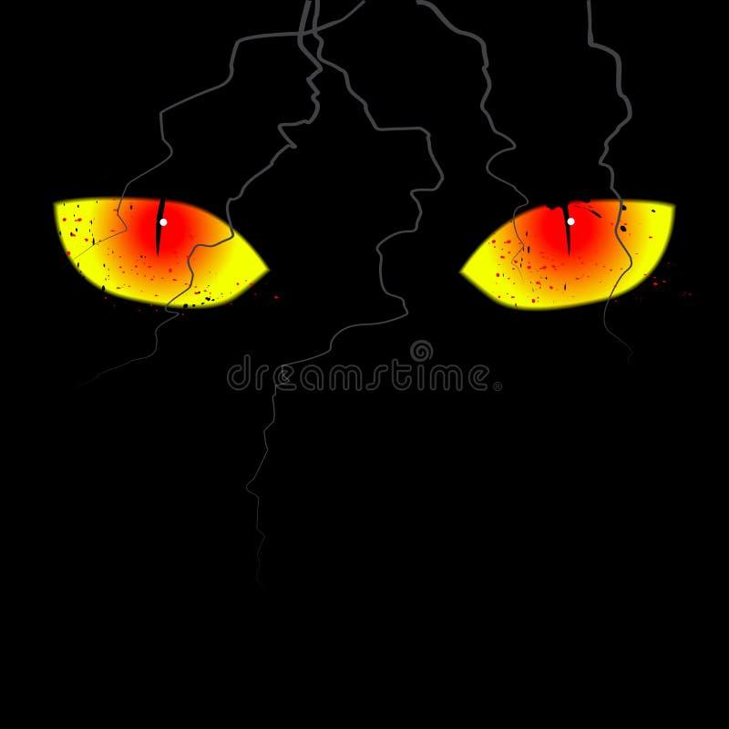Olhos assustadores no fundo preto ilustração stock