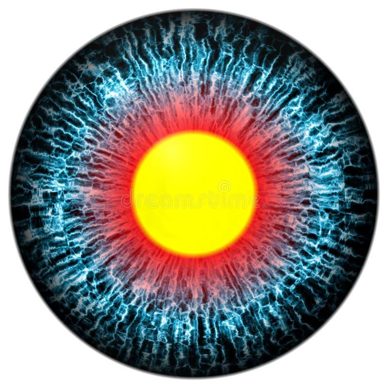 Olhos azuis com aluno aberto e a retina amarela brilhante no fundo Íris colorida escura em torno do aluno, olho isolado ilustração royalty free
