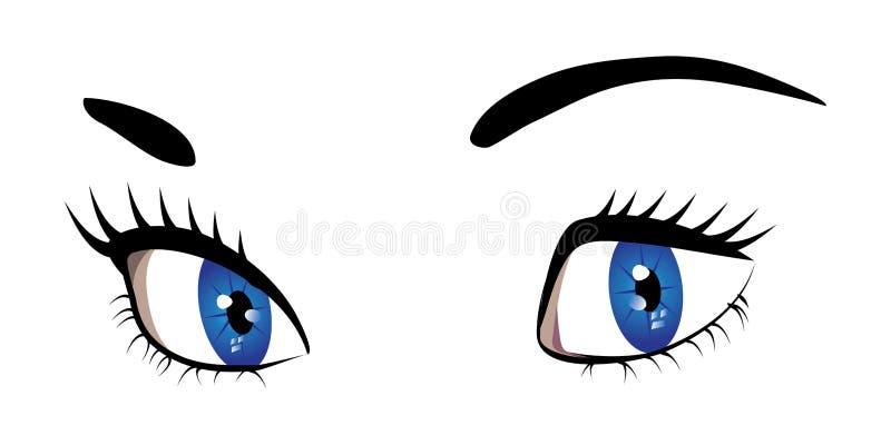 Olhos azuis da mulher ilustração do vetor