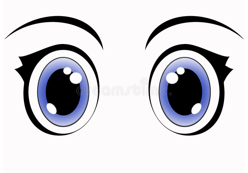 Olhos azuis do anime ilustração royalty free